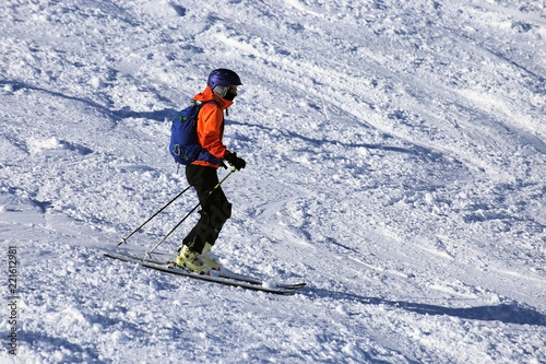 Skier riding the slope