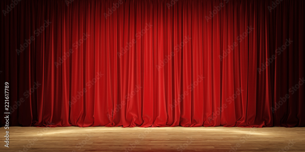 Fototapeta Empty theater stage with red velvet curtains.