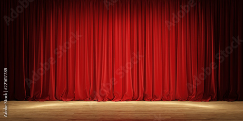 Fotomural  Empty theater stage with red velvet curtains.