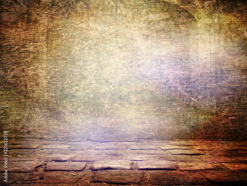 Poster Affiche vintage Creative awesome indoor background - Vintage grunge wallpaper with space for design