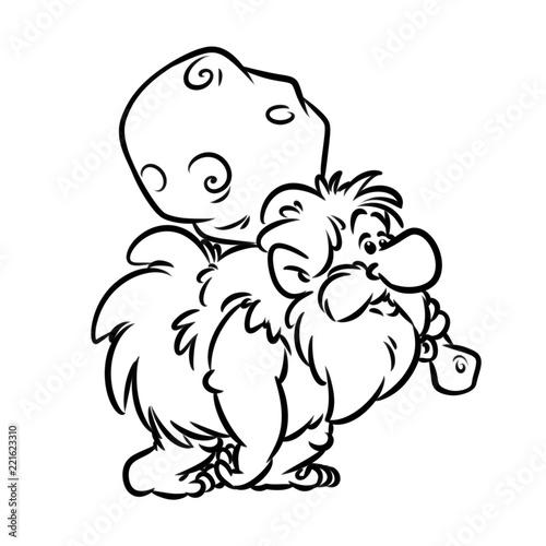 Troglodyte Caveman Wild Hunter Baton Cartoon Illustration Isolated Image Coloring Page Stock Illustration Adobe Stock