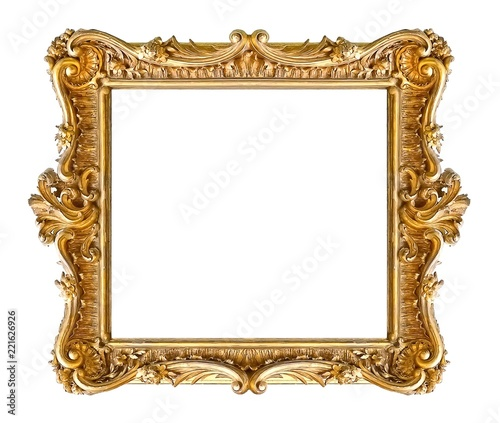 Foto  Golden frame for paintings, mirrors or photo