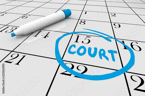 Court Case Day Jury Duty Calendar Date 3d Illustration Tablou Canvas