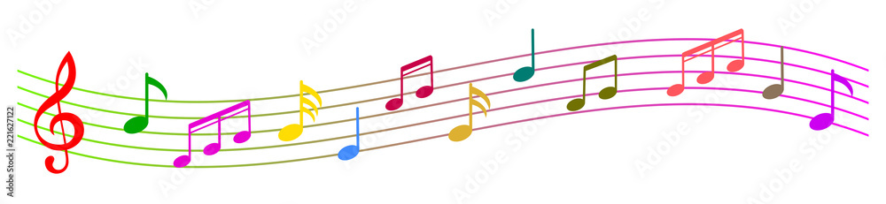 Fototapeta Colorful music notes background, musical notes – stock vector