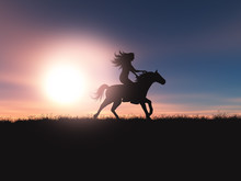 3D Female Riding Her Horse In ...