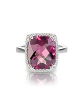 Pink Tourmaline Cushion Cut Halo Ring Isolated On White