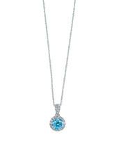 Blue Topaz Aquamarine Diamond Necklace With Chain Isolated On White