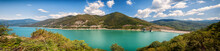 Panoramic View Of The Jinvali Water Reservoir, Beautiful Mountains In The Background. Georgia, Tbilisi