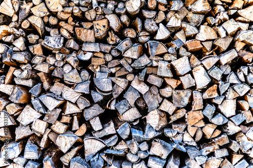 Poster Brandhout textuur Holzstapel