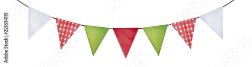 Foto Cute festive bunting in green, red, white colors and checkered pattern