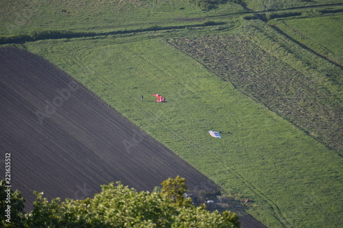 Tuinposter Khaki aerial view of green fields