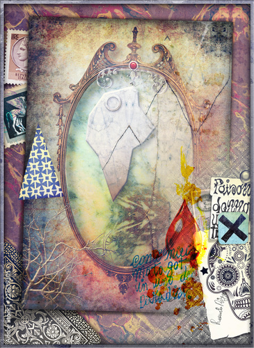 Magic and bewitched mirror with graffiti and skull