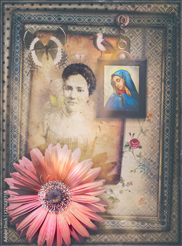 Ancient and old fashioned background with haunted fairytale window and fantastic flower