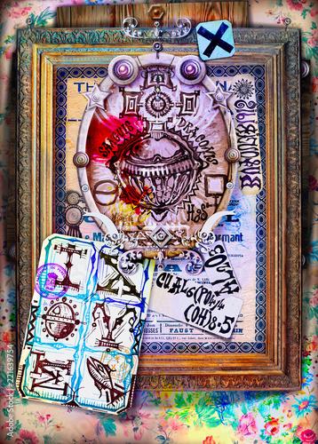 Foto op Plexiglas Imagination Rubedo cinnabaris. Composizione con simboli alchemici ed esoterici