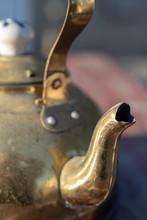 Close Up Detail Of Vintage Metal Tea Kettle Pour Spout