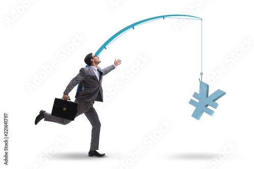 Fotografia, Obraz Businessman chasing money on fishing rod