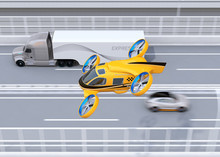 Orange Passenger Drone Taxi Flying Beside American Truck On Highway. 3D Rendering Image.