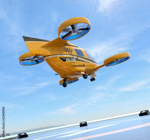 Orange Passenger Drone Taxi takeoff from helipad Tableau sur Toile