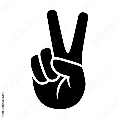Fotografering Hand gesture V sign for victory or peace flat vector icon for apps and websites
