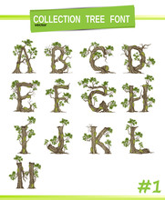 Tree Font.Twisted Tree  In The Shape Of Letter.Letter A B C Vector Alphabet With Tree. ABC Concept Type As Logo.Eco Concept.
