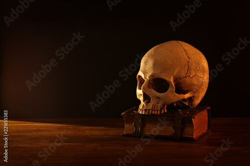Human skull and old book over old wooden table and dark background Canvas Print
