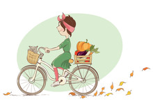 Girl On A Bicycle / Vector Illustration, Young Woman And Autumn Shopping