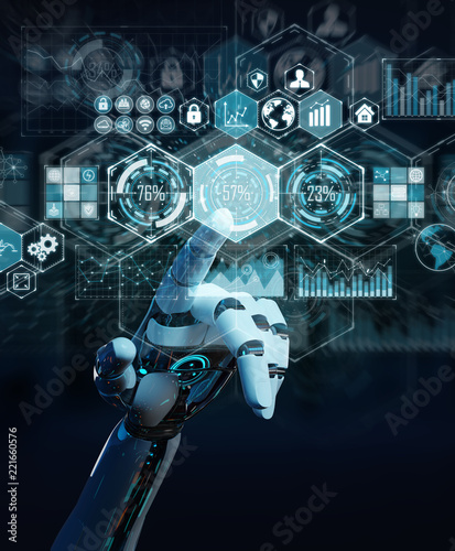 White cyborg hand using digital datas interface 3D rendering Wall mural
