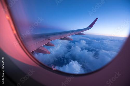 Türaufkleber Flugzeug Sunset sky from the airplane window