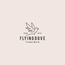 Dove Logo Vector Vintage Hipster Retro Icon Line Outline Monoline Illustration