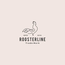 Continuous Line Rooster Logo Hipster Retro Vintage Vector Icon Outline Monoline Illustration