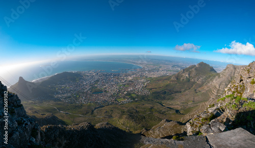 Foto op Aluminium Zwart View from the top of Table Mountain, Cape Town