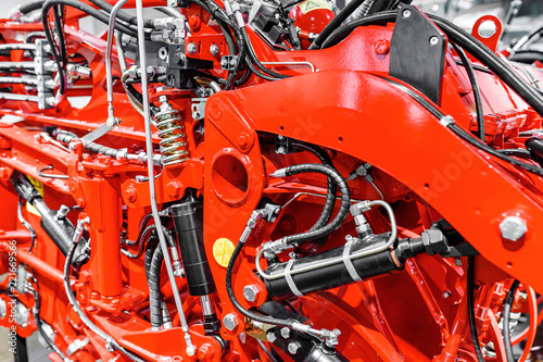 Foto  Industrial agricultural heavy machinery background closeup