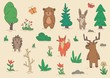 Funny animal characters standing among trees and bushes. Set of flat vector illustrations. Isolated on beige background.