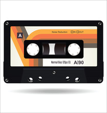 Retro Vintage Cassette Tape Isolated White Background