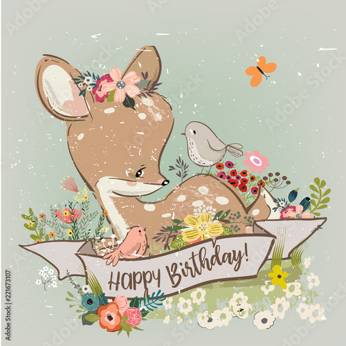 Photo  birthday little deer with flowers and birds