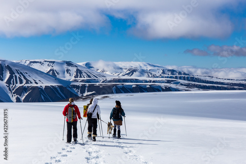 Fotografie, Obraz  Snowshoeing with a husky in Svalbard