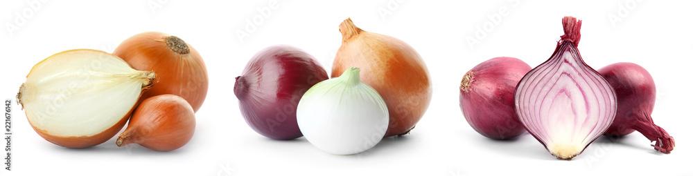 Obraz Set with fresh onions on white background fototapeta, plakat