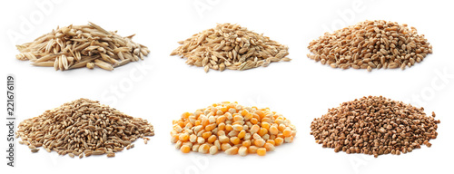 Fotografía Set with different cereal grains on white background