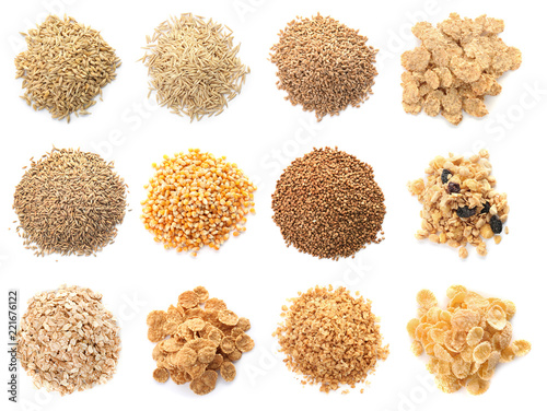 Photo Set with different cereal grains on white background, top view