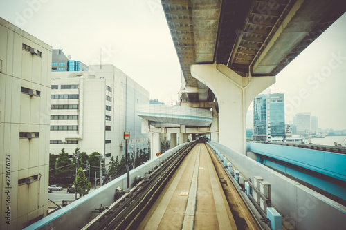 Spoed Foto op Canvas Asia land Monorail on Rainbow bridge, Tokyo, Japan
