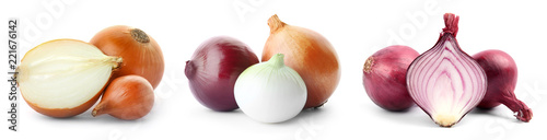 Foto Set with fresh onions on white background