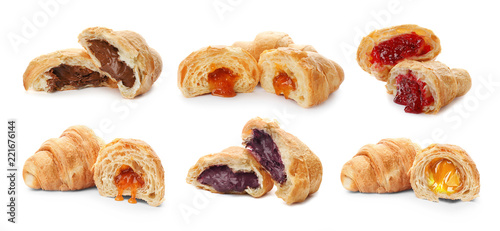 Foto op Canvas Dessert Set with fresh tasty croissants and different fillings on white background