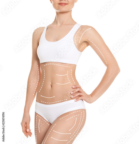 Obraz Young woman showing smooth silky skin after epilation on white background - fototapety do salonu