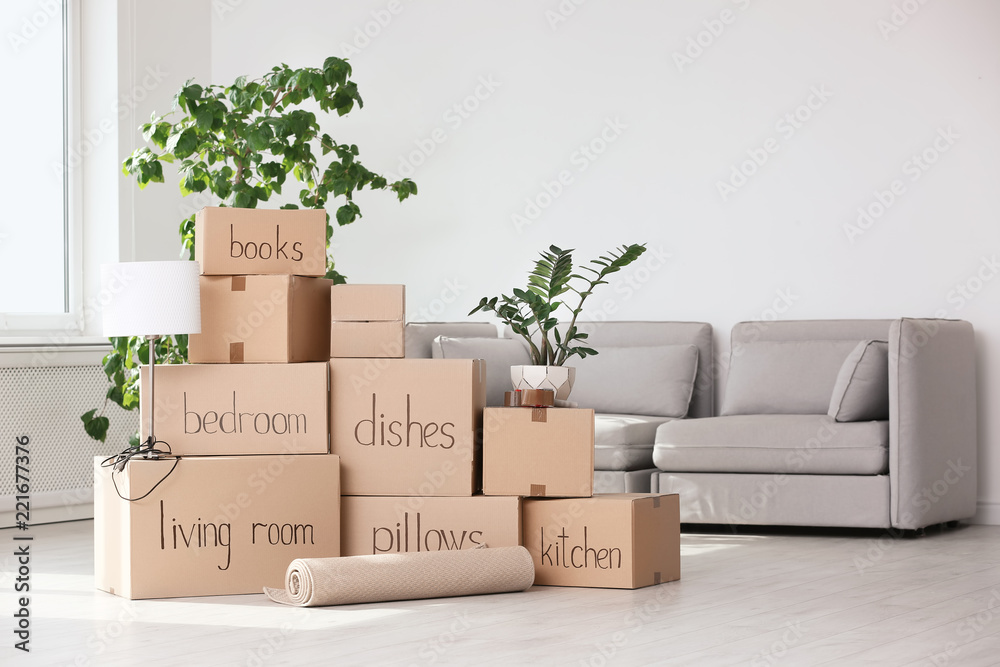 Fototapety, obrazy: Pile of moving boxes and household stuff in living room