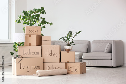Pile of moving boxes and household stuff in living room Canvas Print