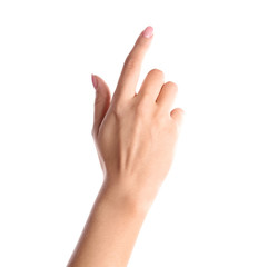Woman pointing to something on white background, closeup