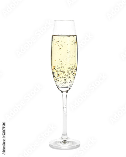 Glass of champagne on white background. Festive drink
