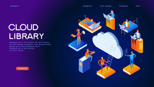 Cloud Library Isometric Concep...