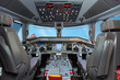 BAKU, AZERBAIJAN - OCTOBER 8, 2017: Flight deck of Embraer E-Jet 190 airplane