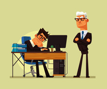 Tired Office Worker Man Character Sleeping At Workplace And Angry Boss Yelling At Him. Hard Work Vector Cartoon Illustration
